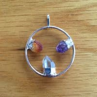 3 stone silver plated circle pendant